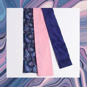 Vintage Ladies Silk Bow Tie Lot Paisley Pink Blue
